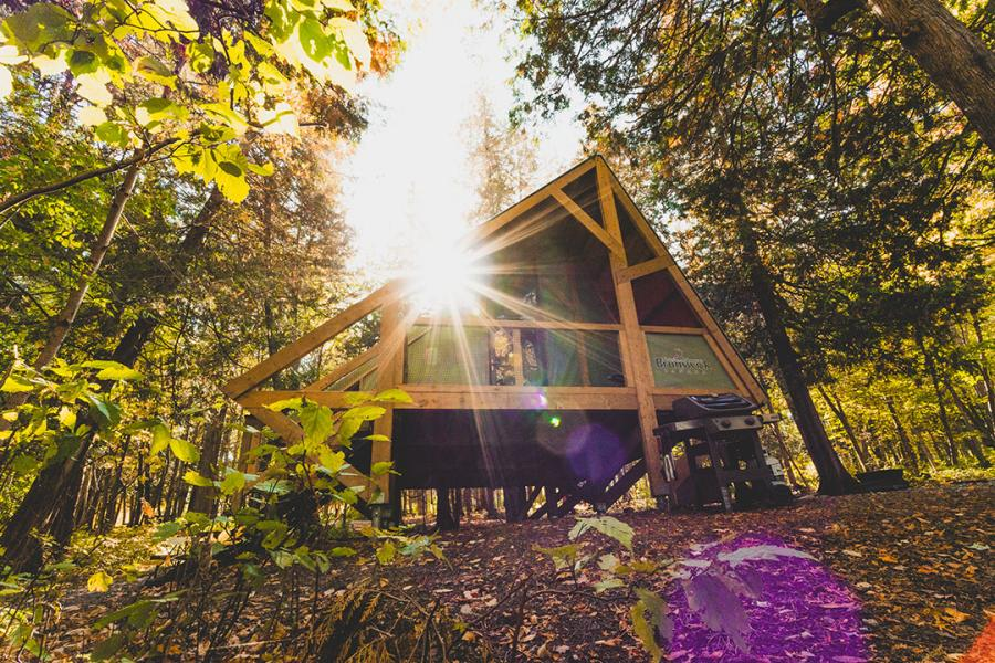 Chalet in the fall at Mactaquac Provincial Park