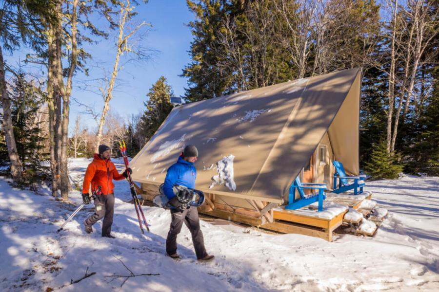 Winter fun in an OTENTik at Fundy National Park