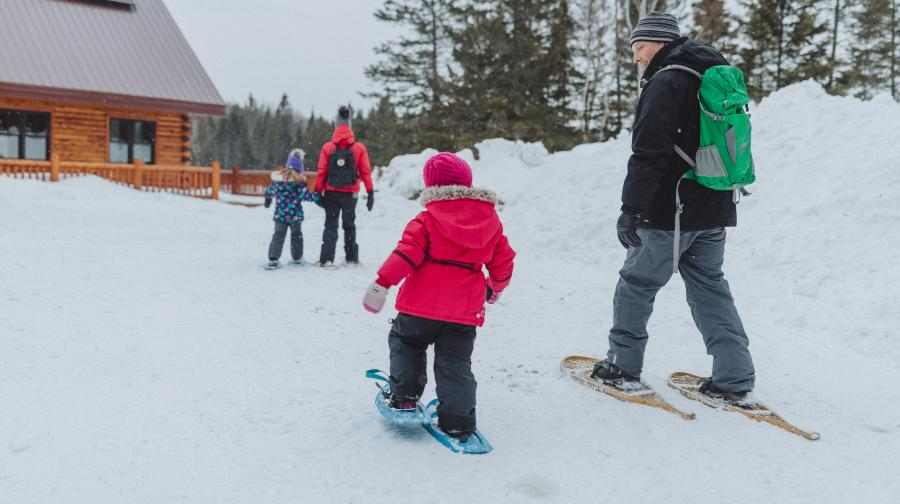 Snowshoeing to lodge at Mount Carleton Provincial Park